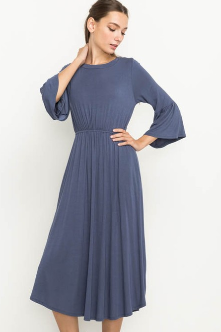 Bell Sleeve Dress - Indigo