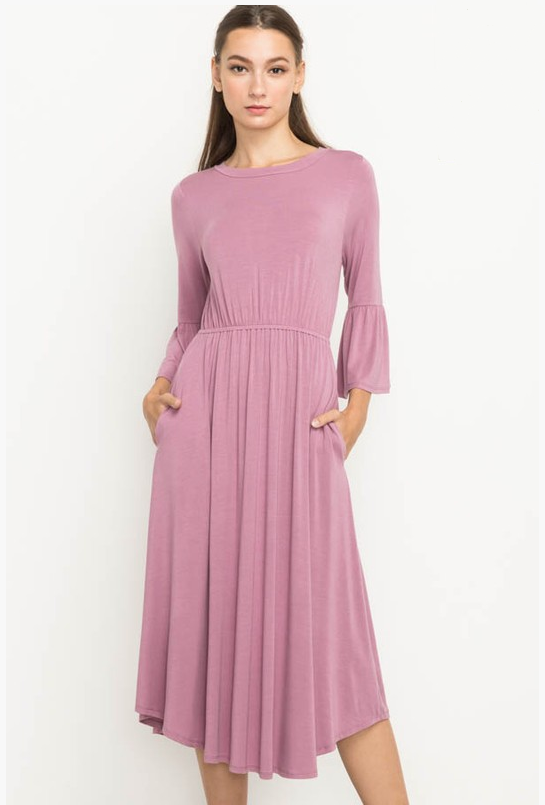Bell Sleeve Dress - Indie Pink