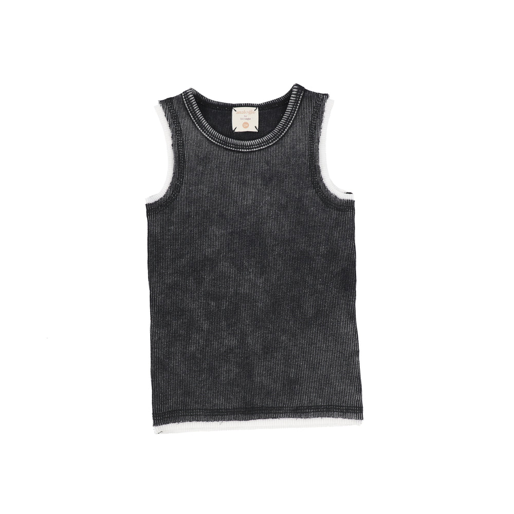 Analogie by Lil Legs Denim Wash Tank - Black
