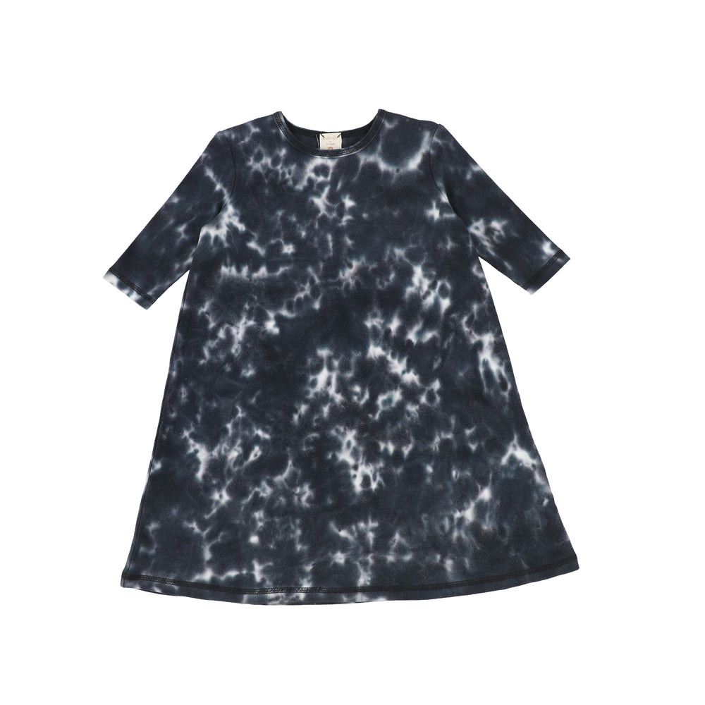 Analogie by Lil Legs Watercolor Three Quarter Sleeve Dress - Black