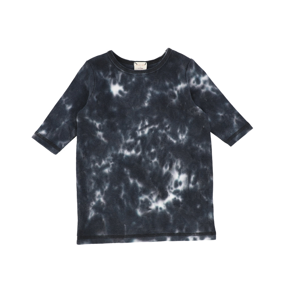 Analogie by Lil Legs Watercolor Three Quarter Sleeve Top - Black