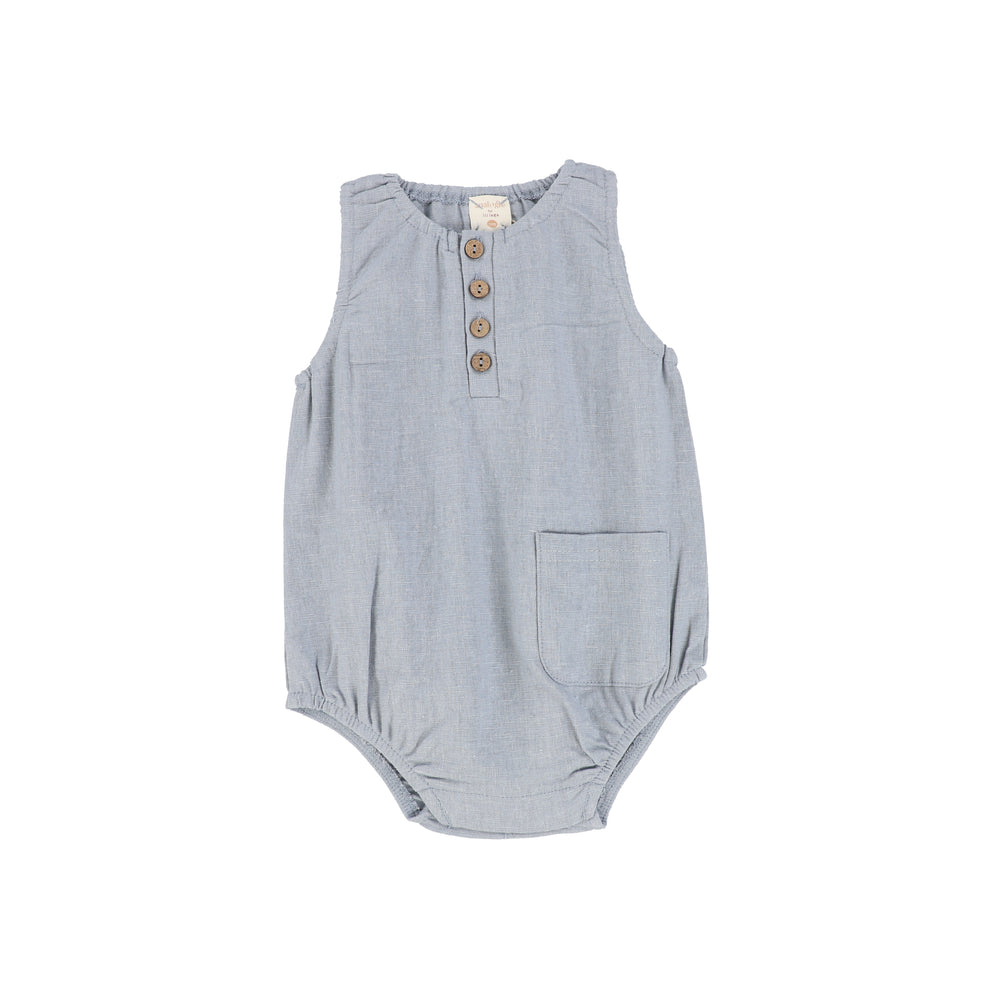 Analogie by Lil Legs Linen Pocket Romper - Blue
