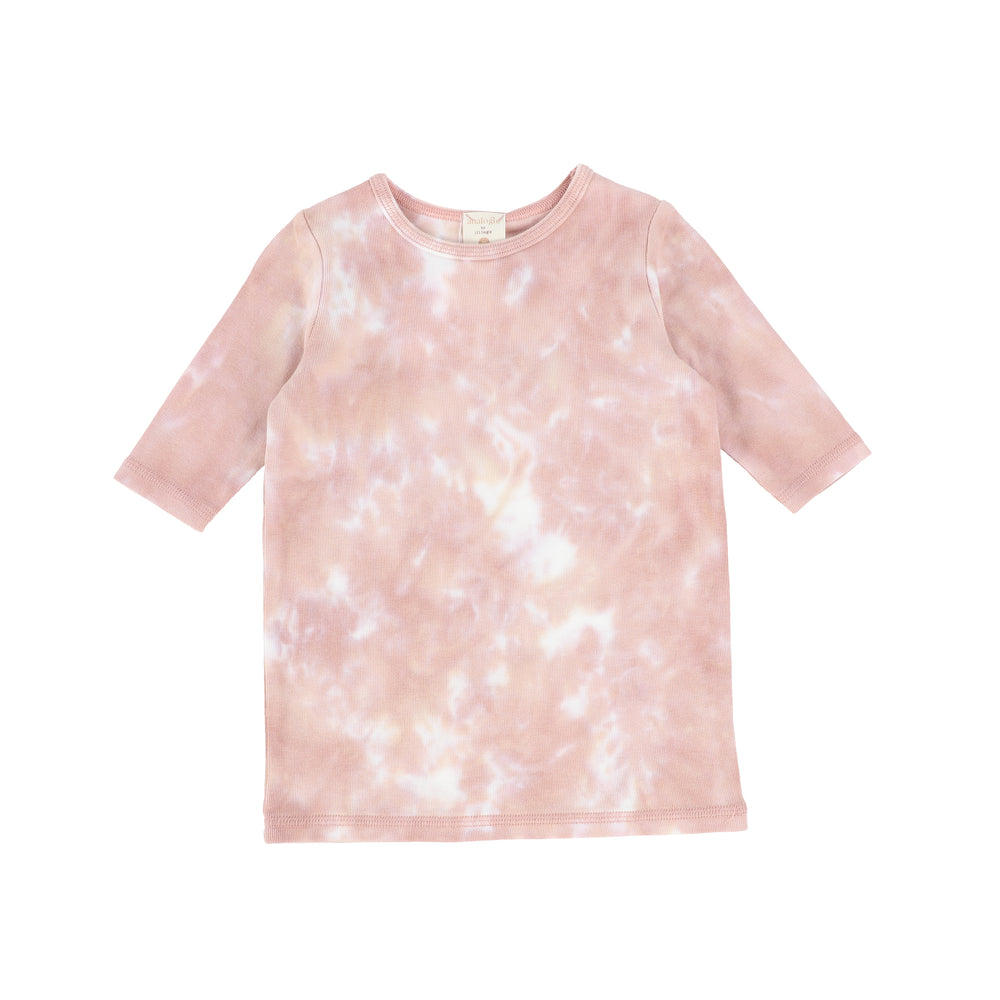 Analogie by Lil Legs Watercolor Three Quarter Sleeve Top - Blush