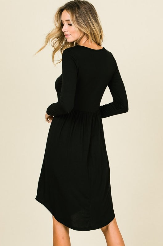 Button Dress - Black