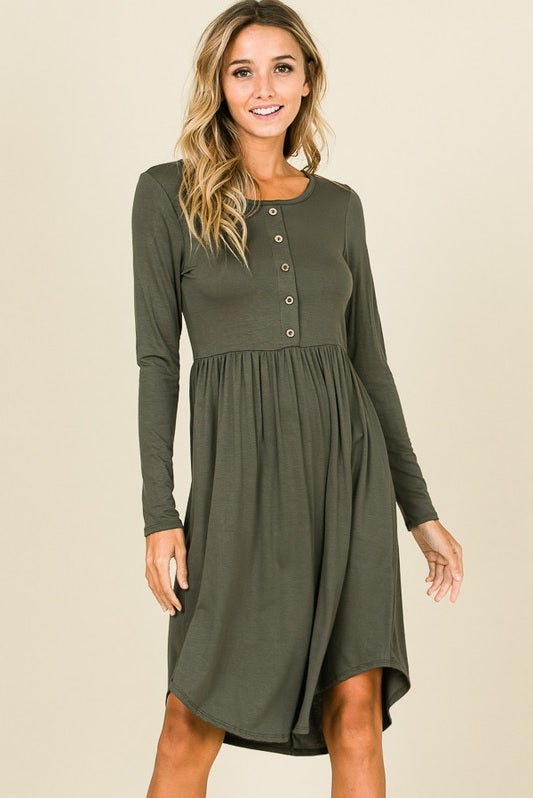 Button Dress - Olive