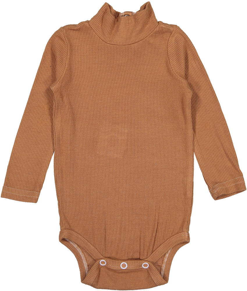 Coco Blanc Ribbed Turtle Onesie - Camel