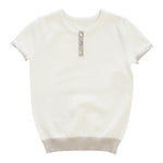 Klai Two Tone Placket Sweater - White