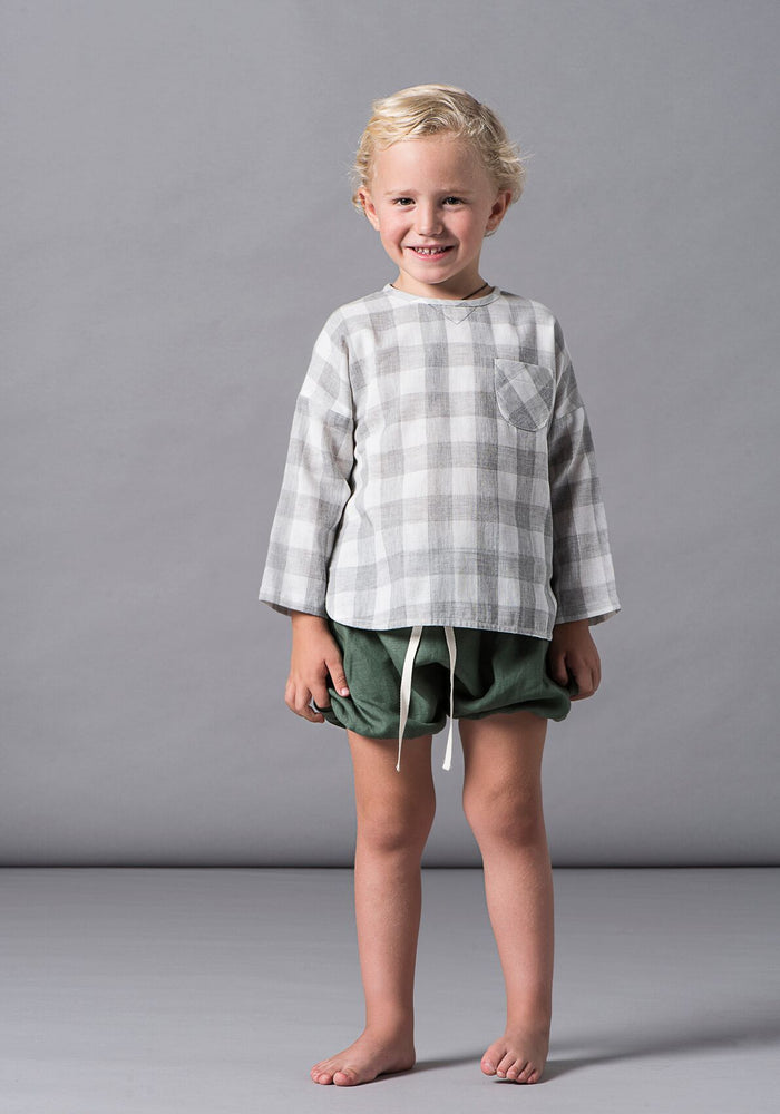 Nicoqo Bubble Shorts - Moss Linen