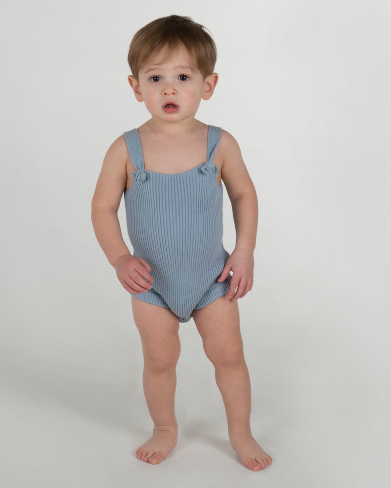 Coco Blanc Ribbed Romper - Ice Blue