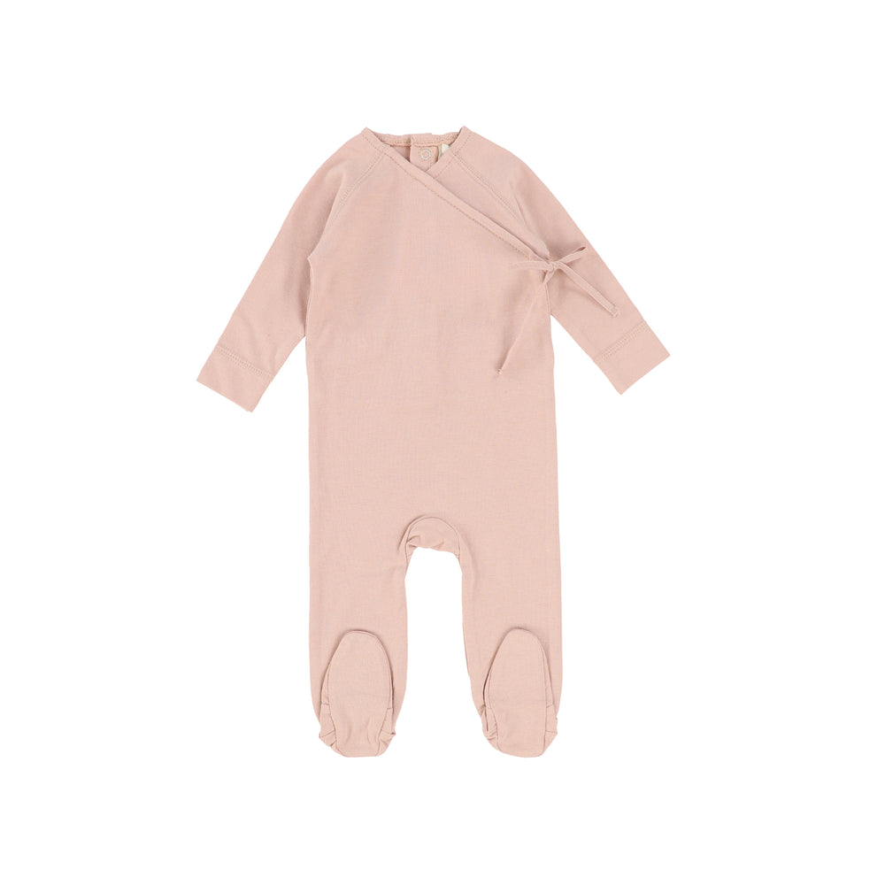 Lilette by Lil Legs Brushed Cotton Wrapover Footie - Dusty Pink
