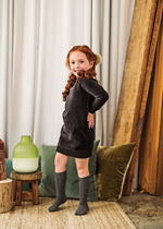 Analogie by Lil Legs Velour Dress - Black