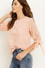 Eyelet Sleeve Top