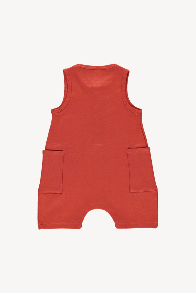 Fin & Vince Short Jumpsuit - Brick Red