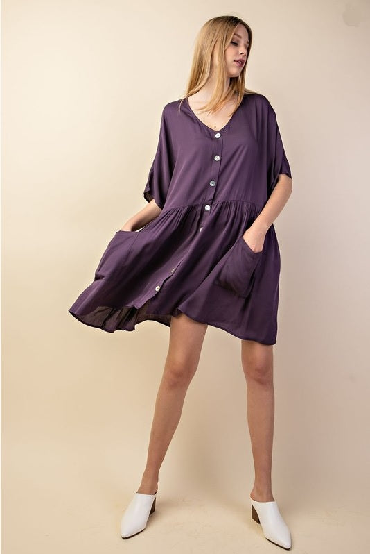 Flounce Dress - Purple