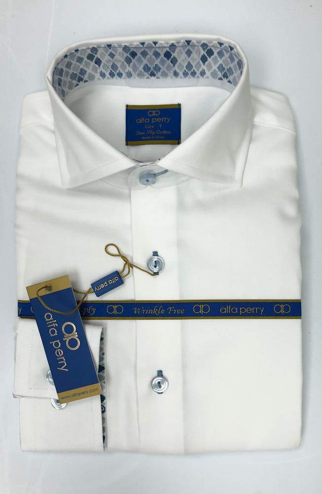 Alfa Perry Blue Diamond Contrast Shirt
