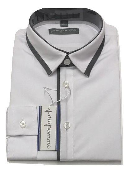 Pompomme White Shirt - Grey