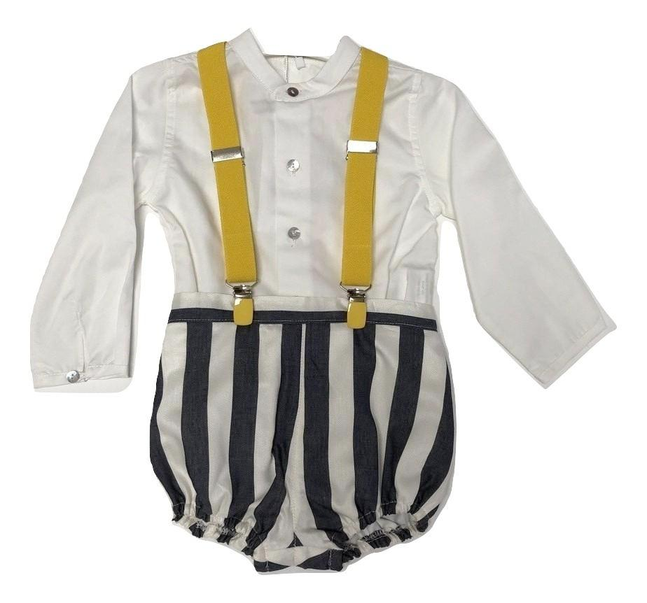 Pilar Batanero Stripe Yellow Suspender Set