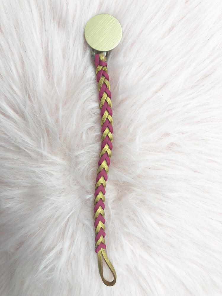 Braided Pacifier Clip - Pink