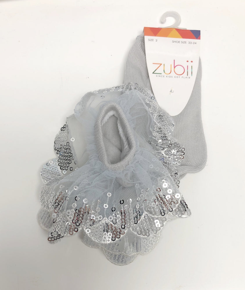 Zubii Sequin Lace Ankle Sock - Grey