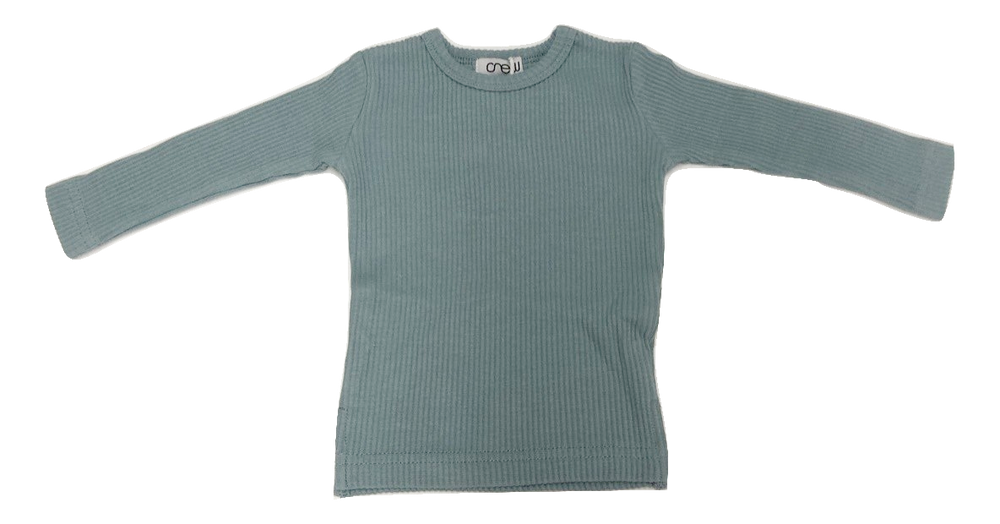 Crew Ribbed Long Sleeve Top - Sage