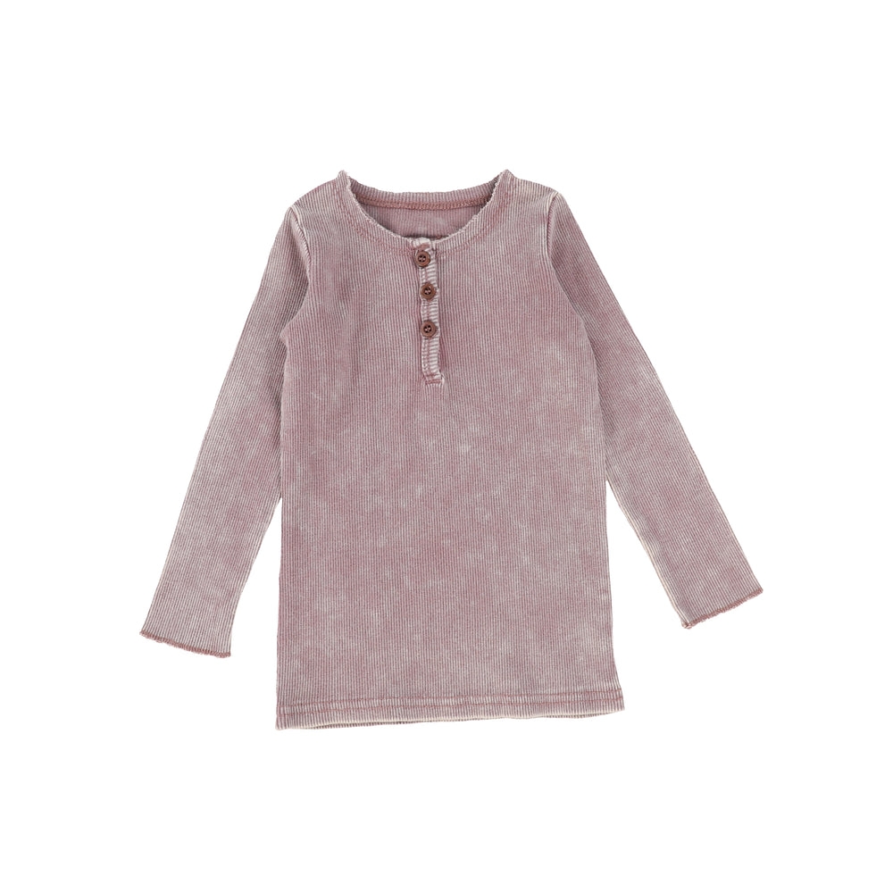 Lil Legs Ribbed Long Sleeve Tee - Pink Wash