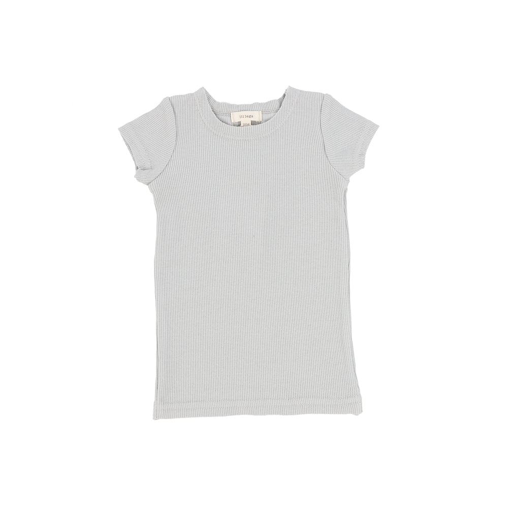 Lil Legs Short Sleeve Ribbed T-shirt - Light Grey