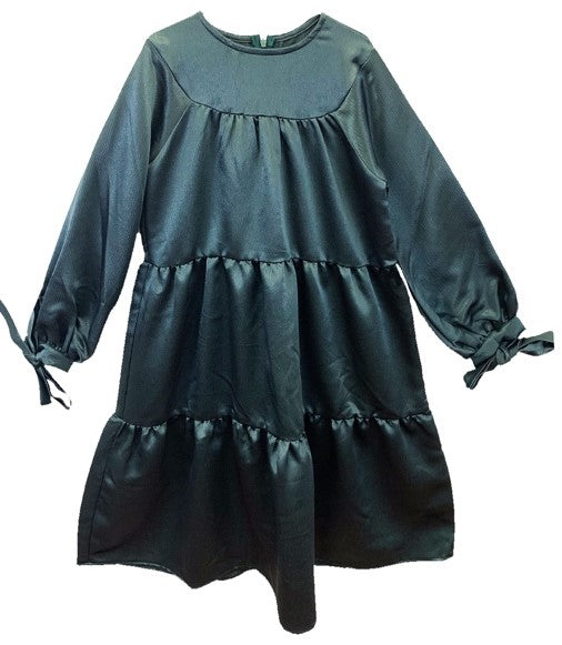 Meme Green Silky Tiered Dress