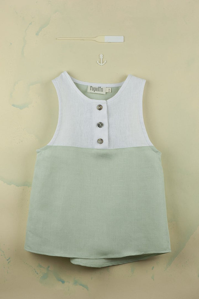 Popelin Green Sleeveless Shirt