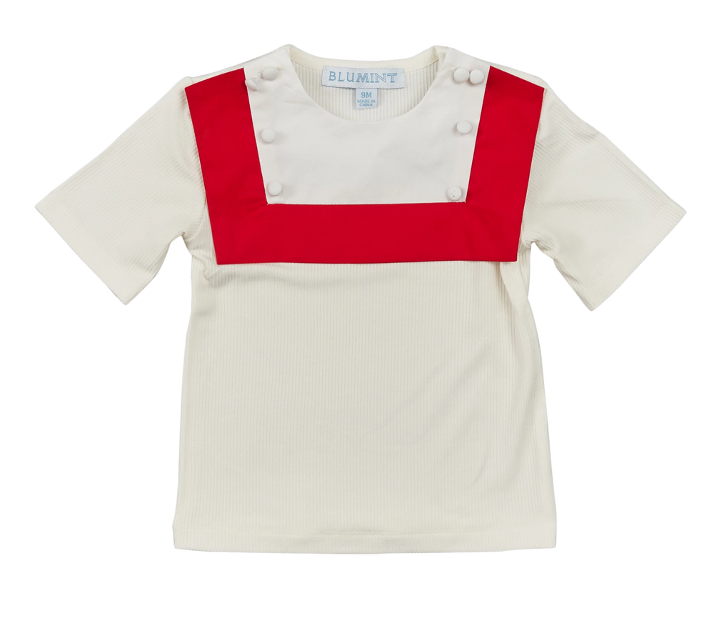 Blumint Baby Sailor Top - White/Red