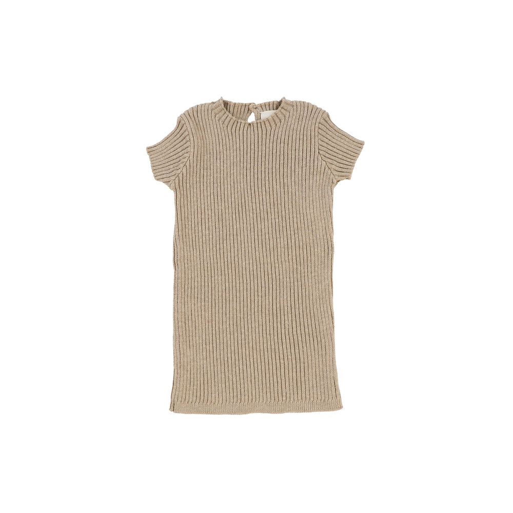 Lil Legs Short Sleeve Knit Sweater - Oatmeal