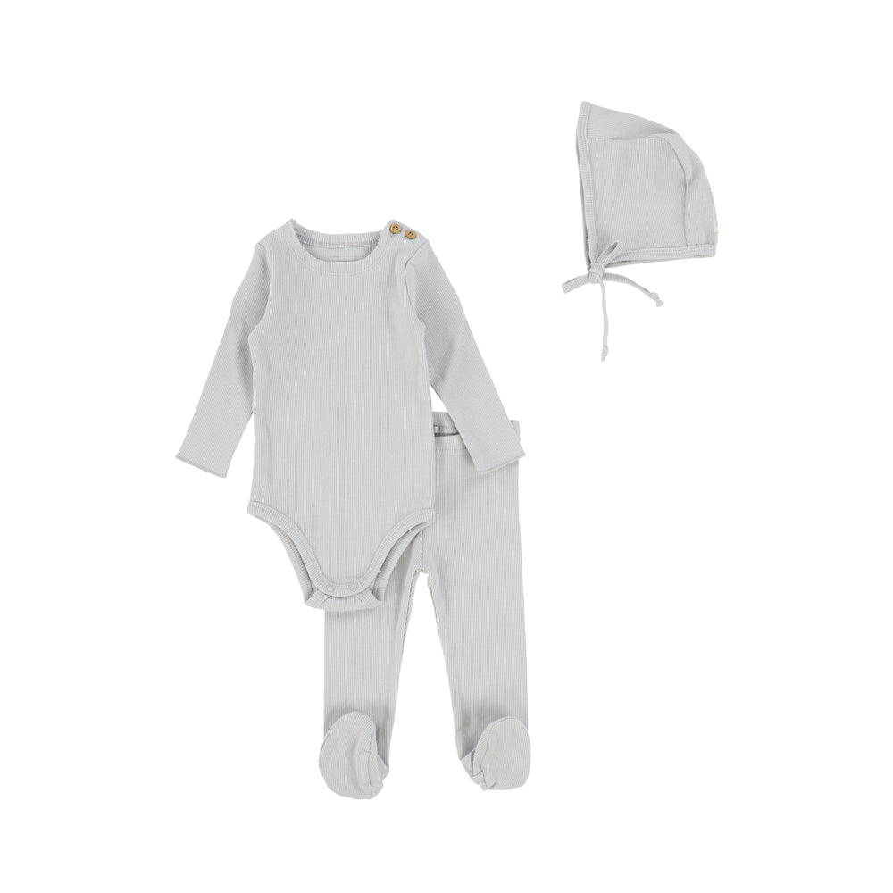 Lil Legs Ribbed Baby Set with Bonnet - Pale Blue