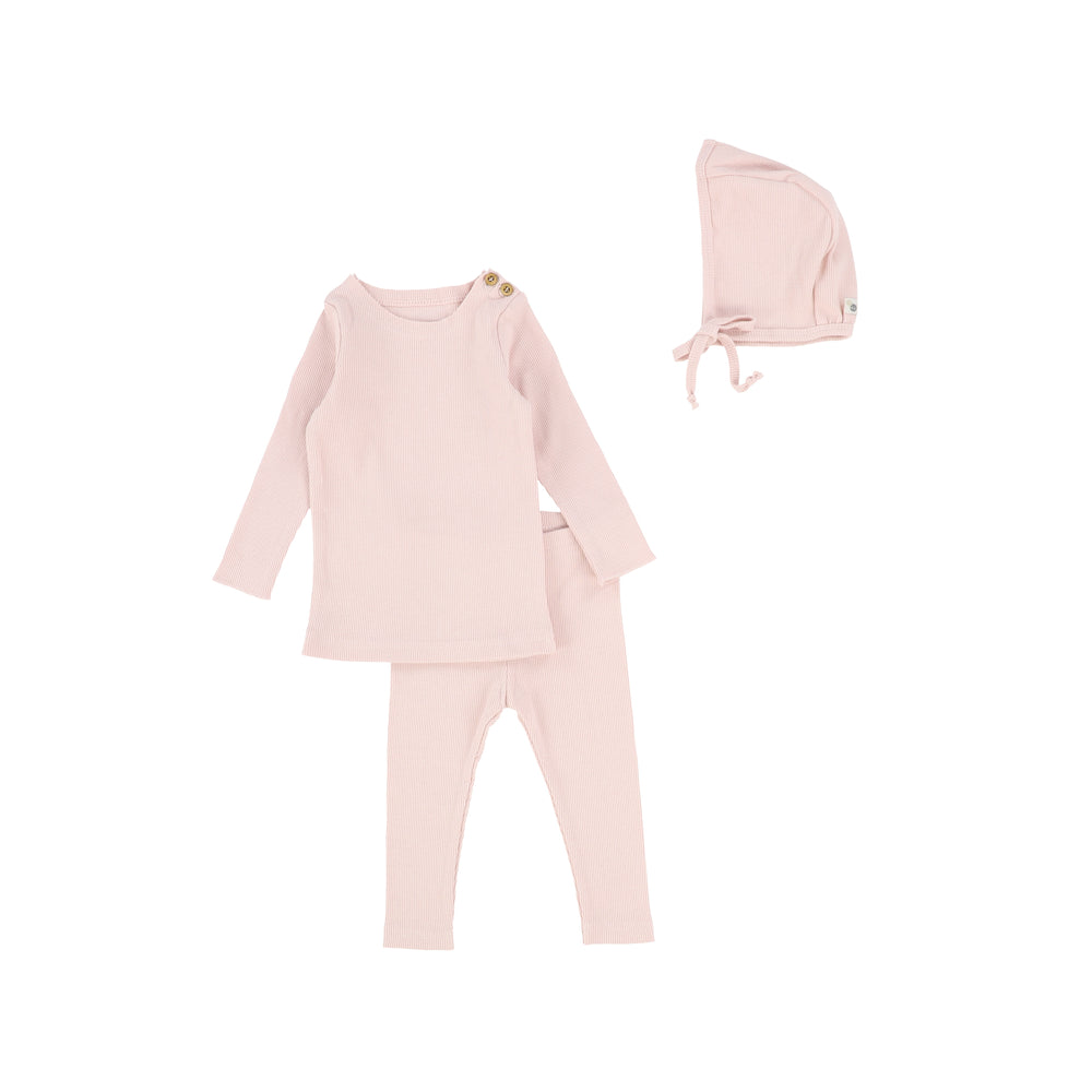 Lil Legs Rib Baby Set with Bonnet - Pale Pink