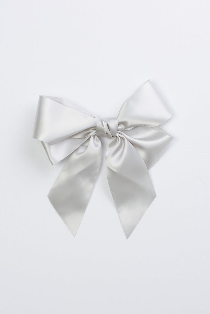 Project 6 Oversized Bow Pony & Clip - Grey