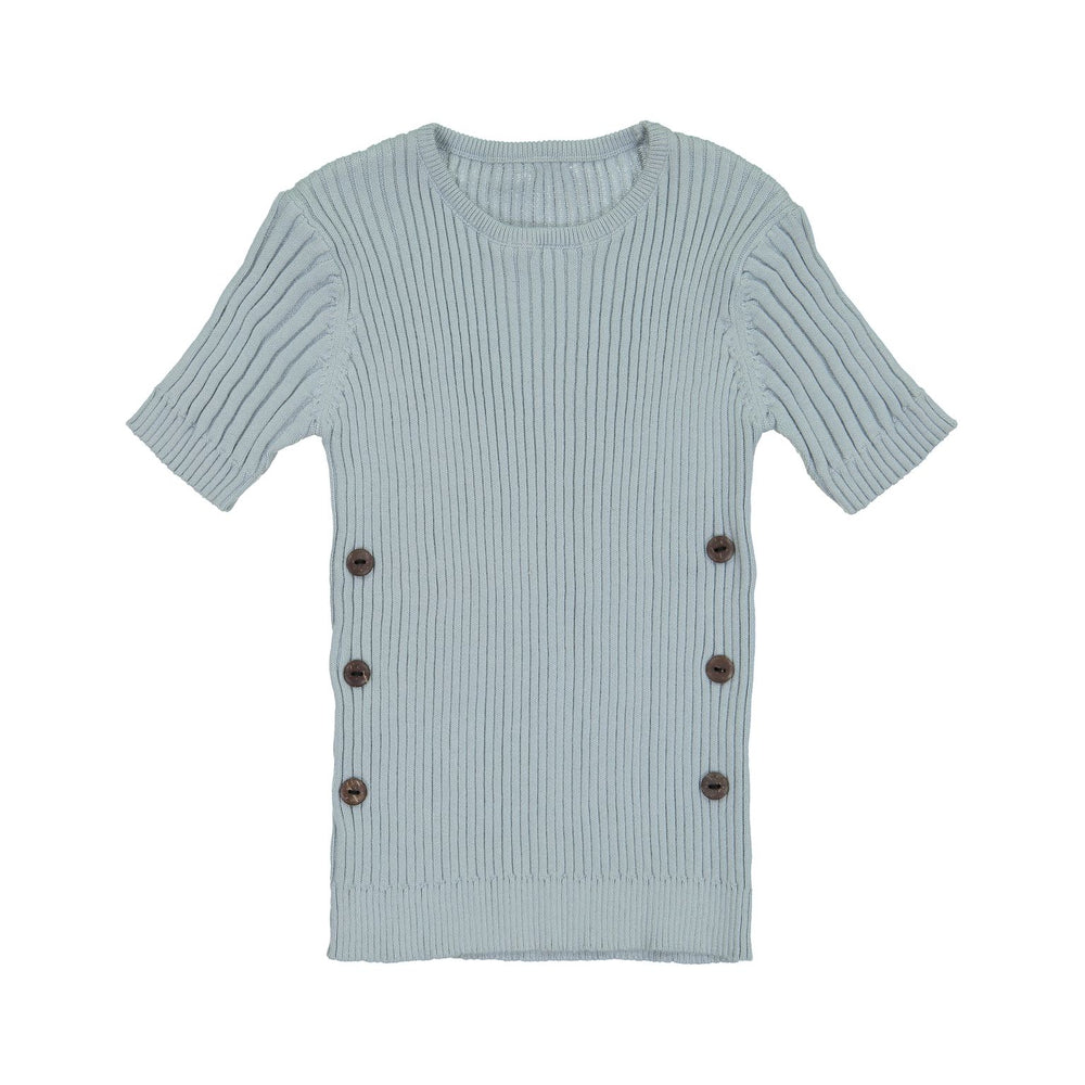 Belati Ribbed Knit with Side Buttons - Dusty Blue