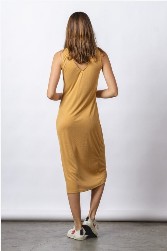 Ribbed Tank Dress - Mustard