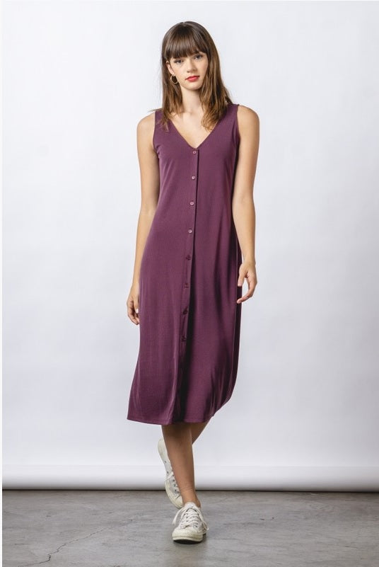 Ribbed Tank Dress - Plum