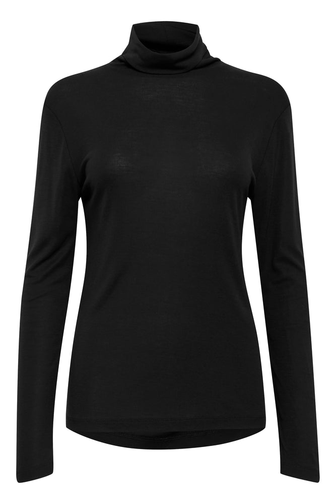 Roll Neck Top - Black