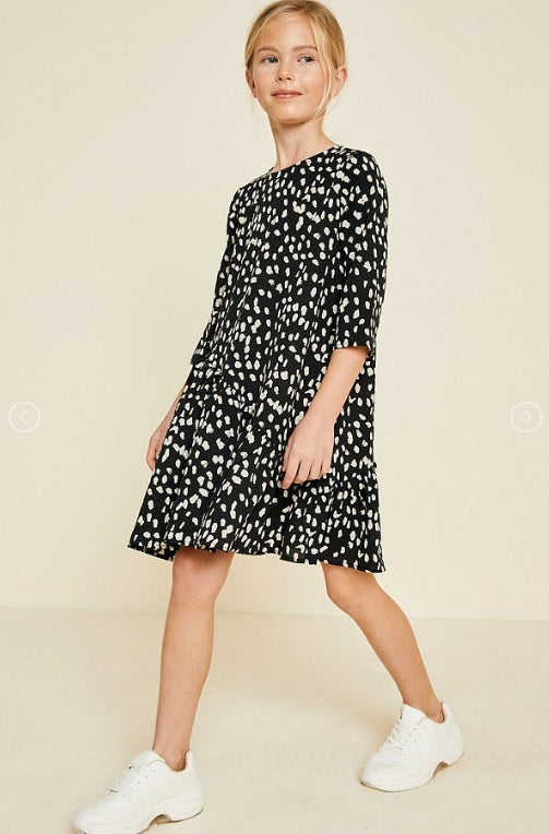 Ruffle Dotted Swing Dress - Black