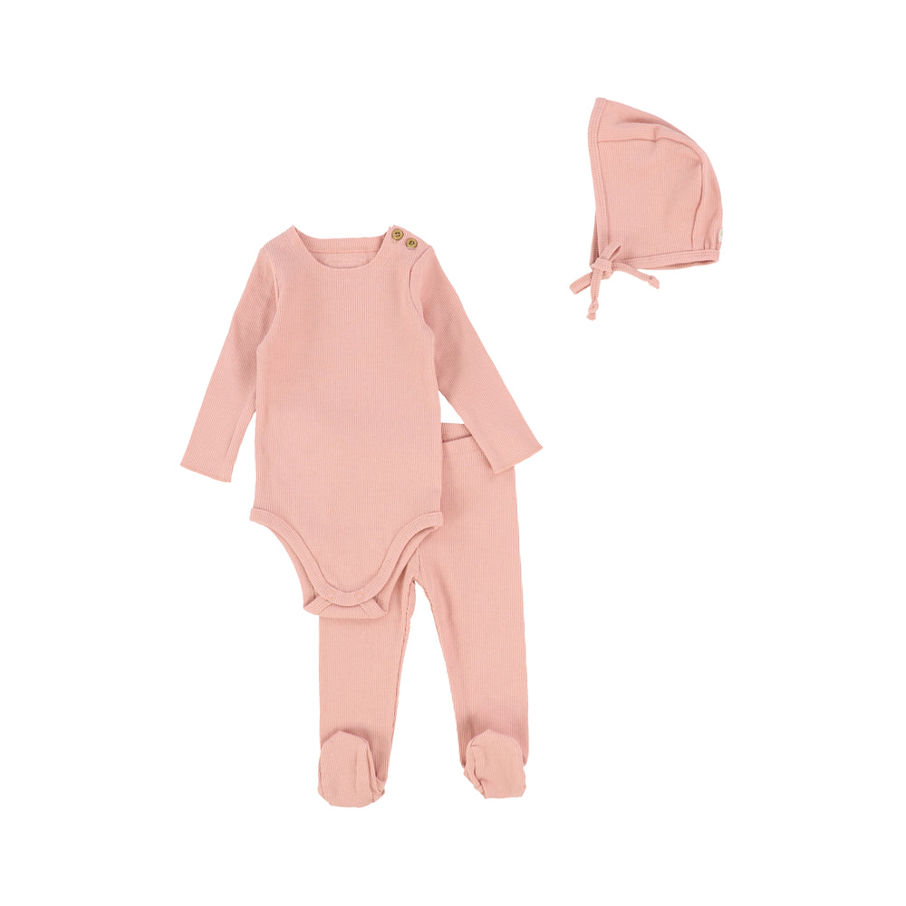Lil Legs Ribbed Baby Set with Bonnet - Salmon
