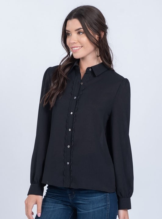 Scallop Placket Top - Black