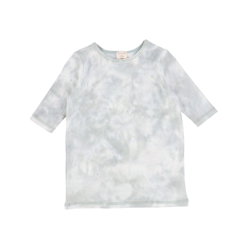 Analogie by Lil Legs Watercolor Three Quarter Sleeve Top - Seafoam