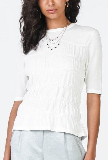 Smocked Sweater Top - White