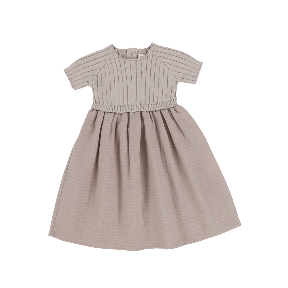 Analogie by Lil Legs Short Sleeve Knit Dress - Taupe