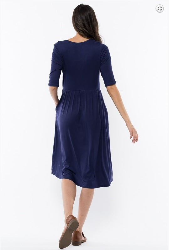 Tie Waist Dress - Navy