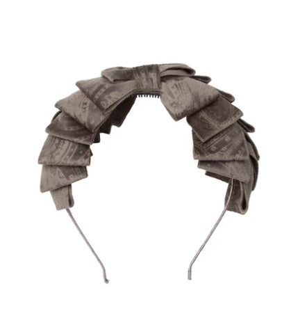 Project 6 Paisley Pleated Headband - Grey Velvet