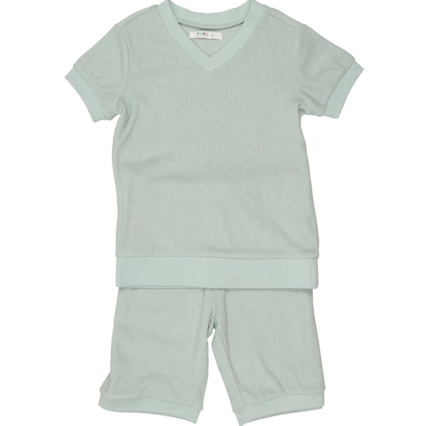 Coco Blanc Terry Shorts Pajamas - Sage Green