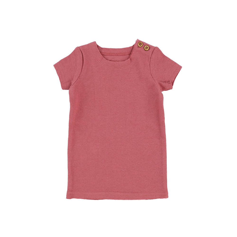 Lil Legs Ribbed Short Sleeve T-shirt - Watermelon Pink