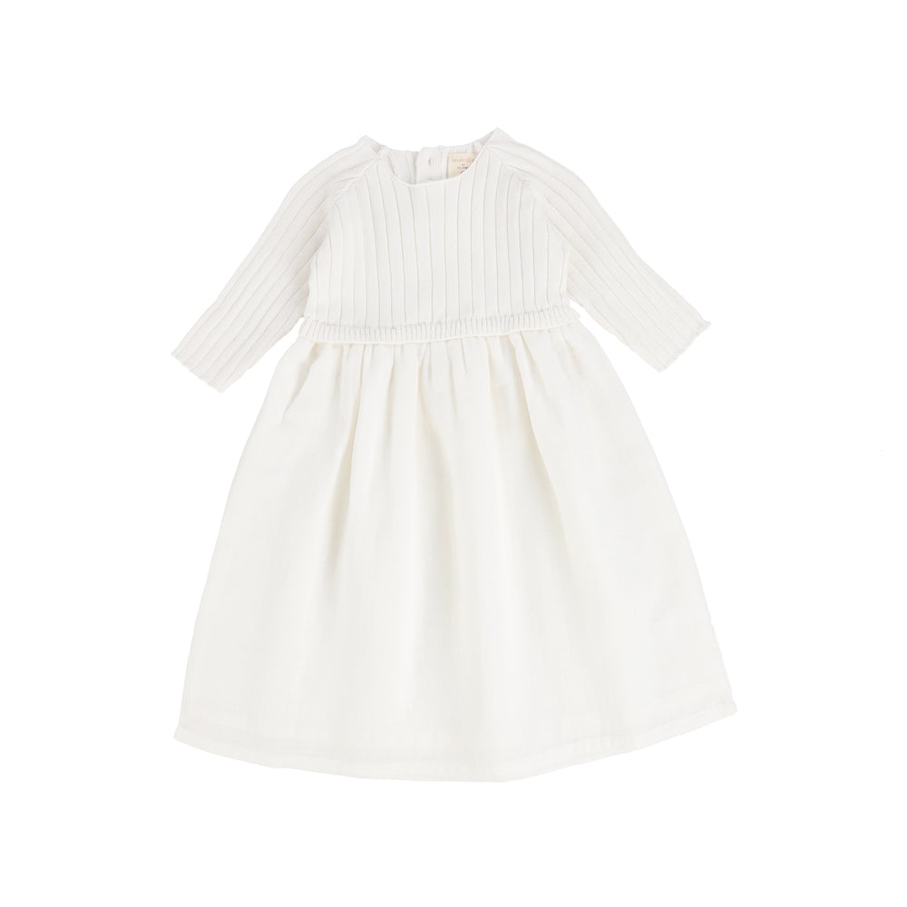 Analogie by Lil Legs Three Quarter Sleeve Knit Dress - White