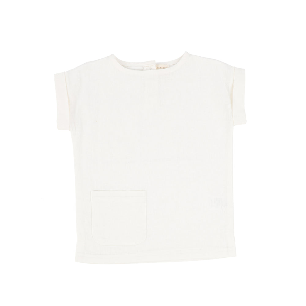 Analogie by Lil Legs Linen Pocket Shirt - White