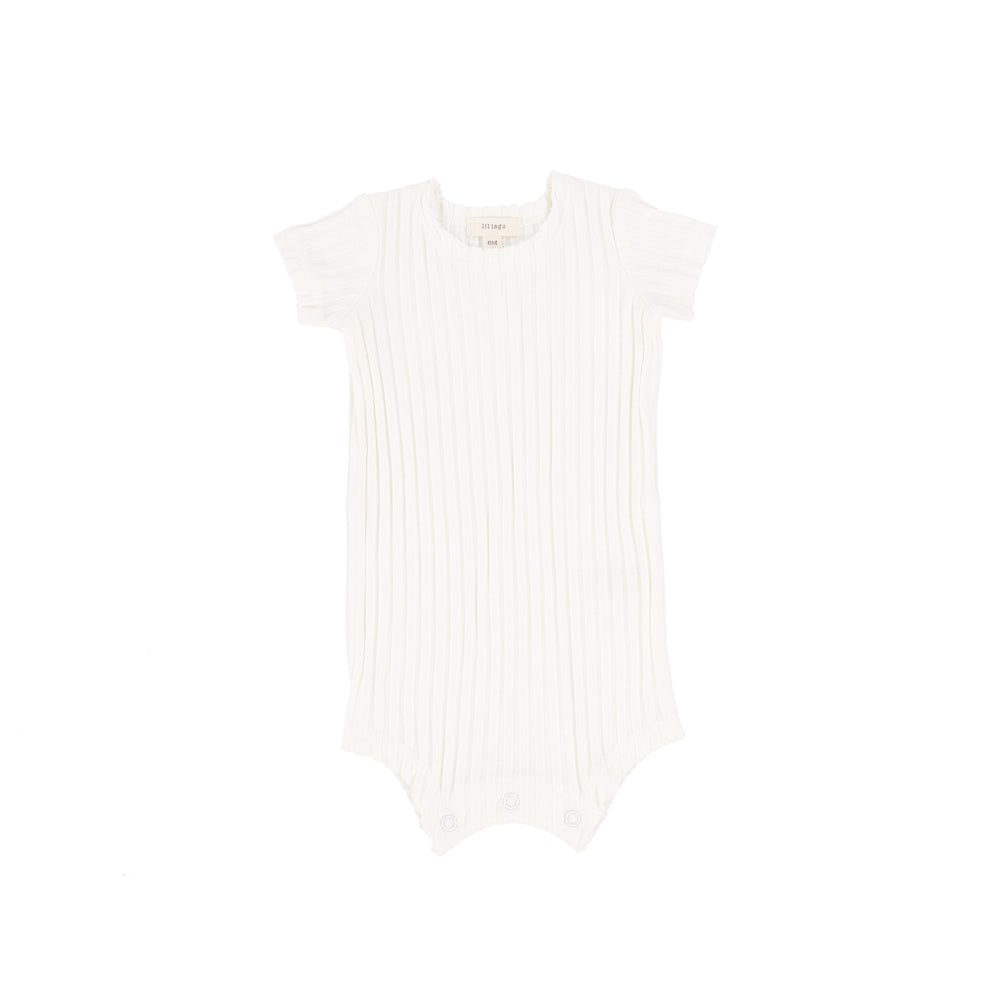 Lil Legs Wide Rib Romper - Winter White